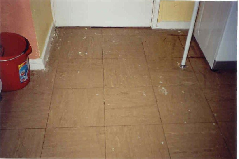 Tiled Floor With Paint Stains